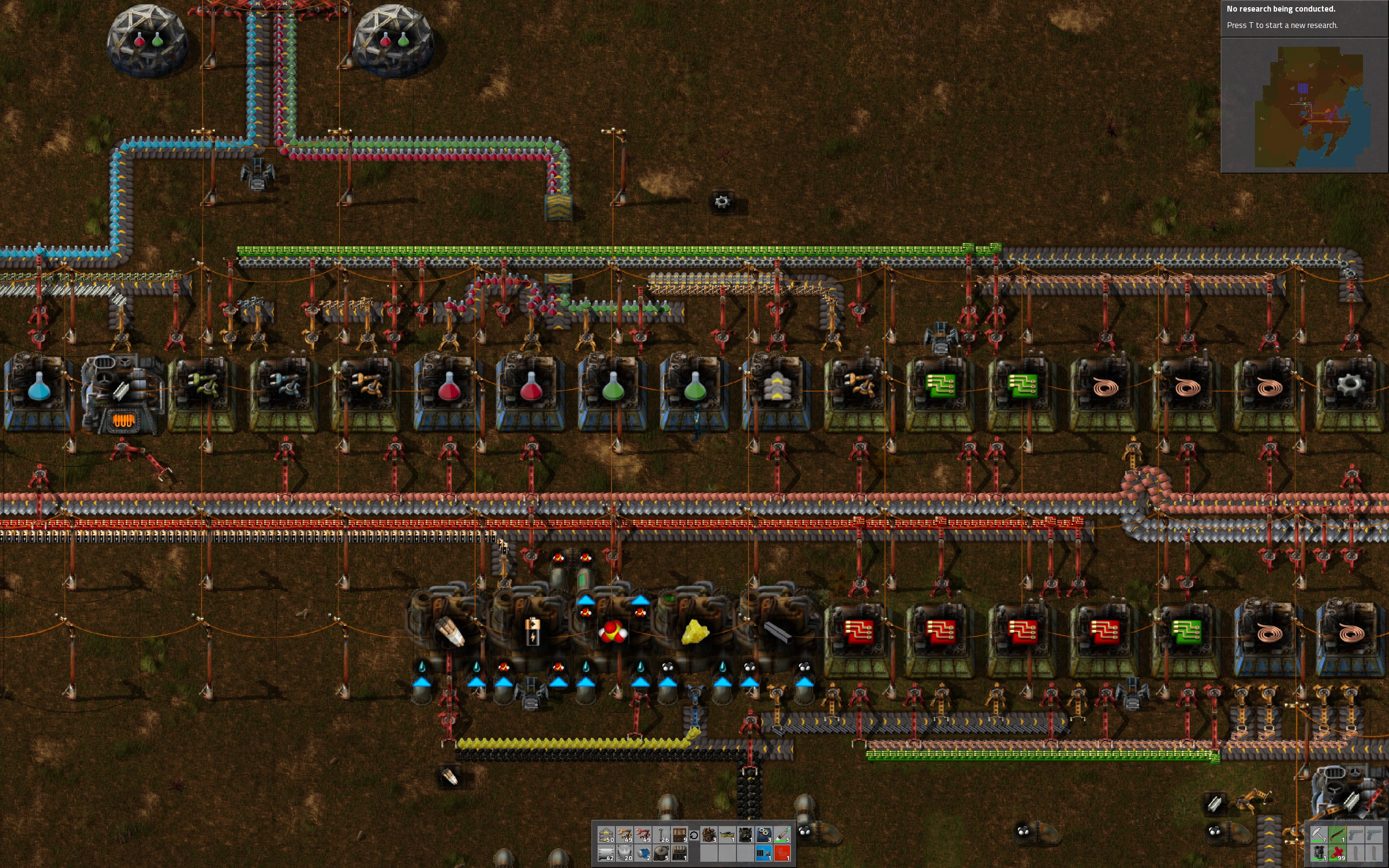 Almost Everything On One Line Factorio Forums Series Circuit Advanced Circuits It Is A Real Struggle To Keep Electric Flowing Fast Enough But Helps Allocate More Space Iron And Copper Until The Assemblers